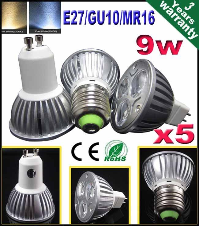 5pcs/lot E27 Screw MR16 GU10 lampholder 50 watt standard replacement 12 110 220 volts LED bulbs(China (Mainland))