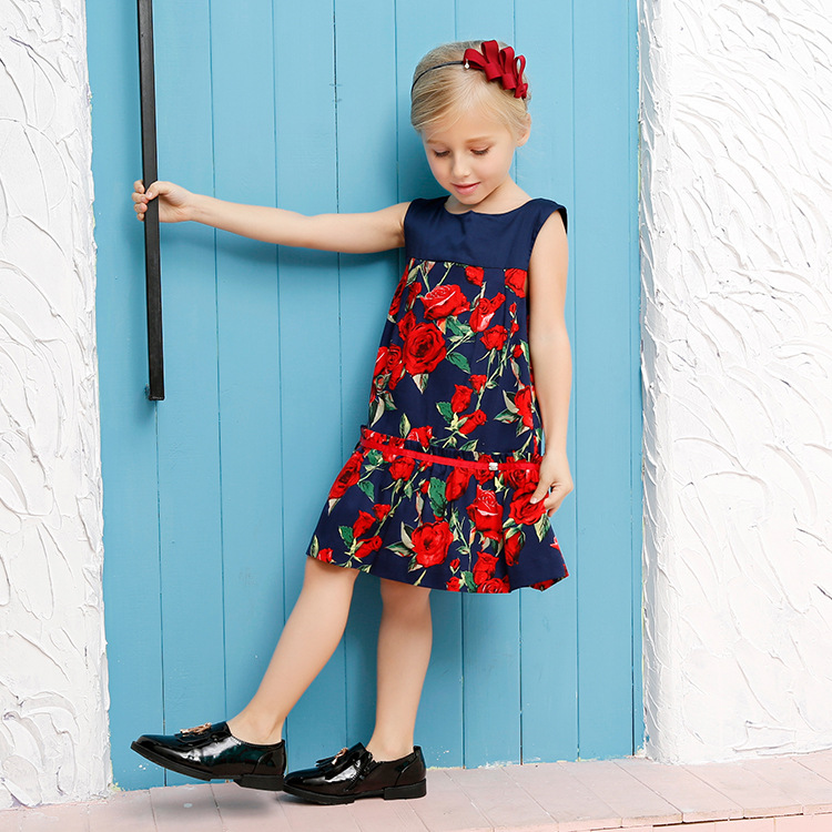 3-10y European Style 2016 Brand High Quality Little Girl Summer Dress Cotton A-line Rose Dresses For Girl Party Dress Princess(China (Mainland))