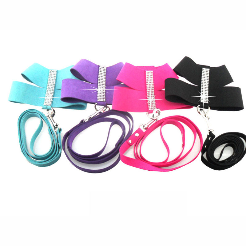 Amazing Designed Crystal Pet Dog Collar and Harness set Small and Large Animal Dogs harness and leash lead supplies Pet Shop(China (Mainland))