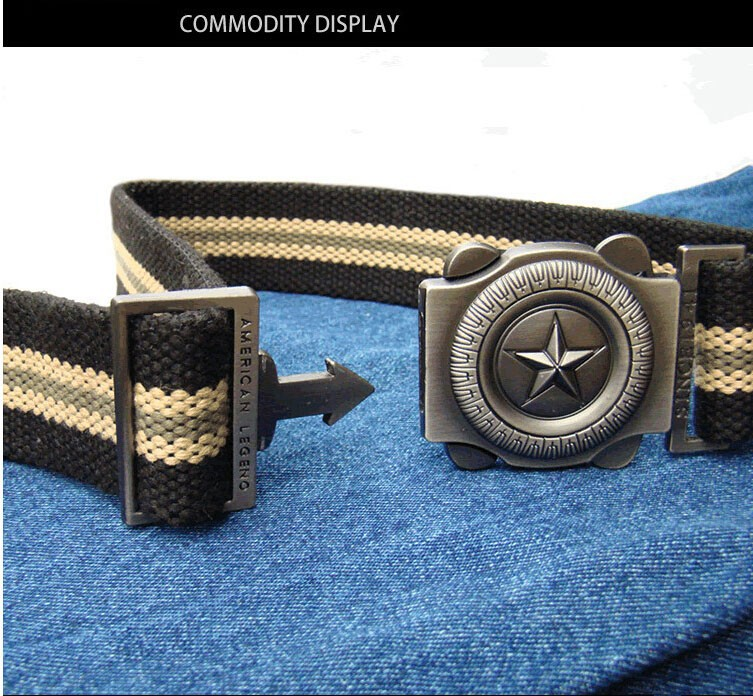 The new 2015 five star fashion canvas belt belt canvas belt Men and women weave belt Free Shipping$5.99