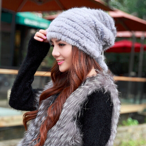 New Arrivals 2015 Women Winter Real Mink Fur Caps Luxury Handmade Knitted Fur Beanies 4 Colors HC45(China (Mainland))