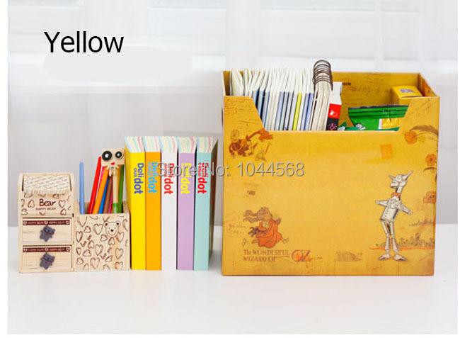 Office desk accessories Yellow DIY hard paper storage box files books magazines sundries sorting box(China (Mainland))