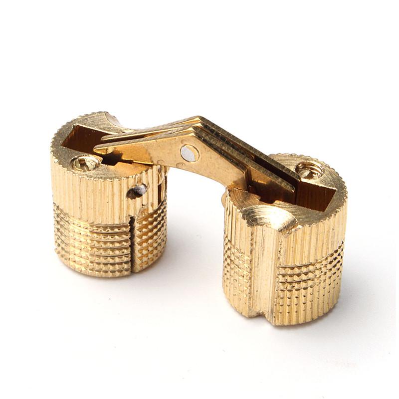Lowest Price 4pcs 12mm Brass Barrel Hinge Invisible Hinge Concealed Hinge For Caravan Worktops(China (Mainland))