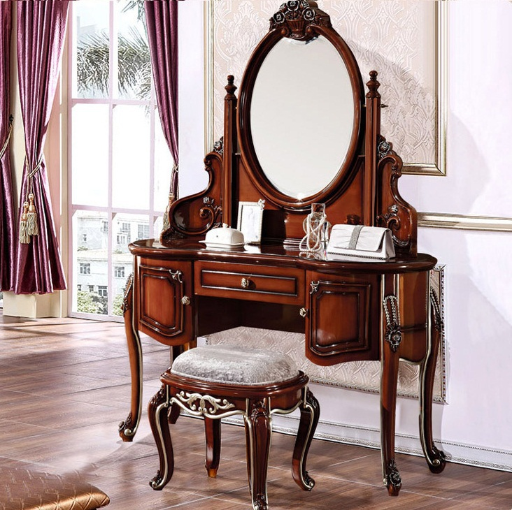 European Style Home Furniture Bedroom Dressers Modern Makeup Table Stools Wood Carving(China (Mainland))
