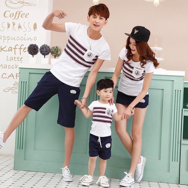 Семья комплект одежды летом с коротким рукавом майка короткий комплект костюм для ...