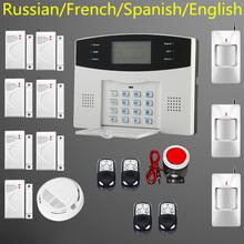 Free shipping Wireless SMS Home GSM Alarm system House intelligent Burglar Security Alarm System+ 1 smoke sensor(China (Mainland))