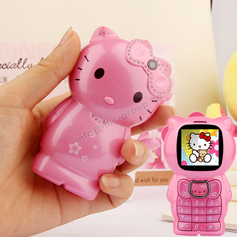 Bar lovely unlocked cartoon hellokitty small women kids girls diamond cute mini cell mobile phone cellphone P205(China (Mainland))