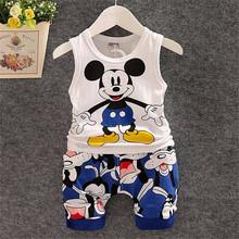 2016 New Cartoon Summer Baby Boy Clothing Set Tank Top + Shorts Kid Boy Summer Set Children Boy Clothes Set Sleeveless(China (Mainland))