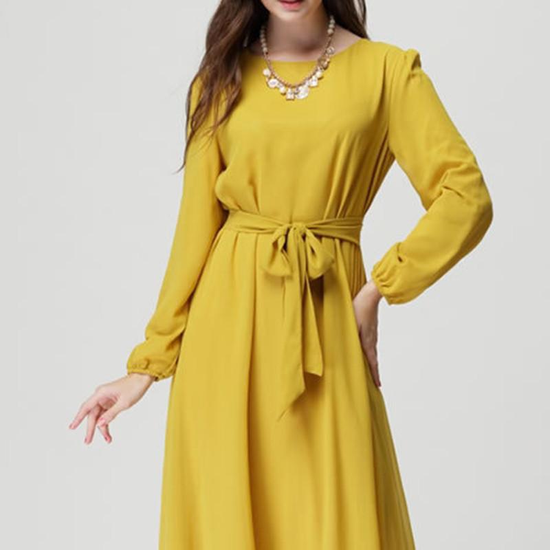 2015 new large size women long sleeve Muslim belt bow waist dress
