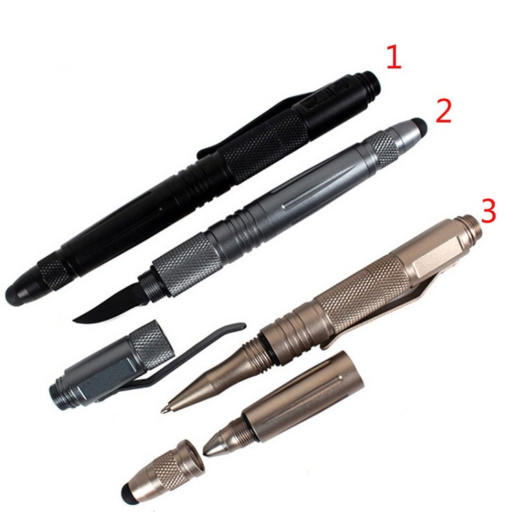 Buy Outdoor survival self defense pen multifunctional tactical pen with knife capacitance pen emergency tool broken windows device cheap