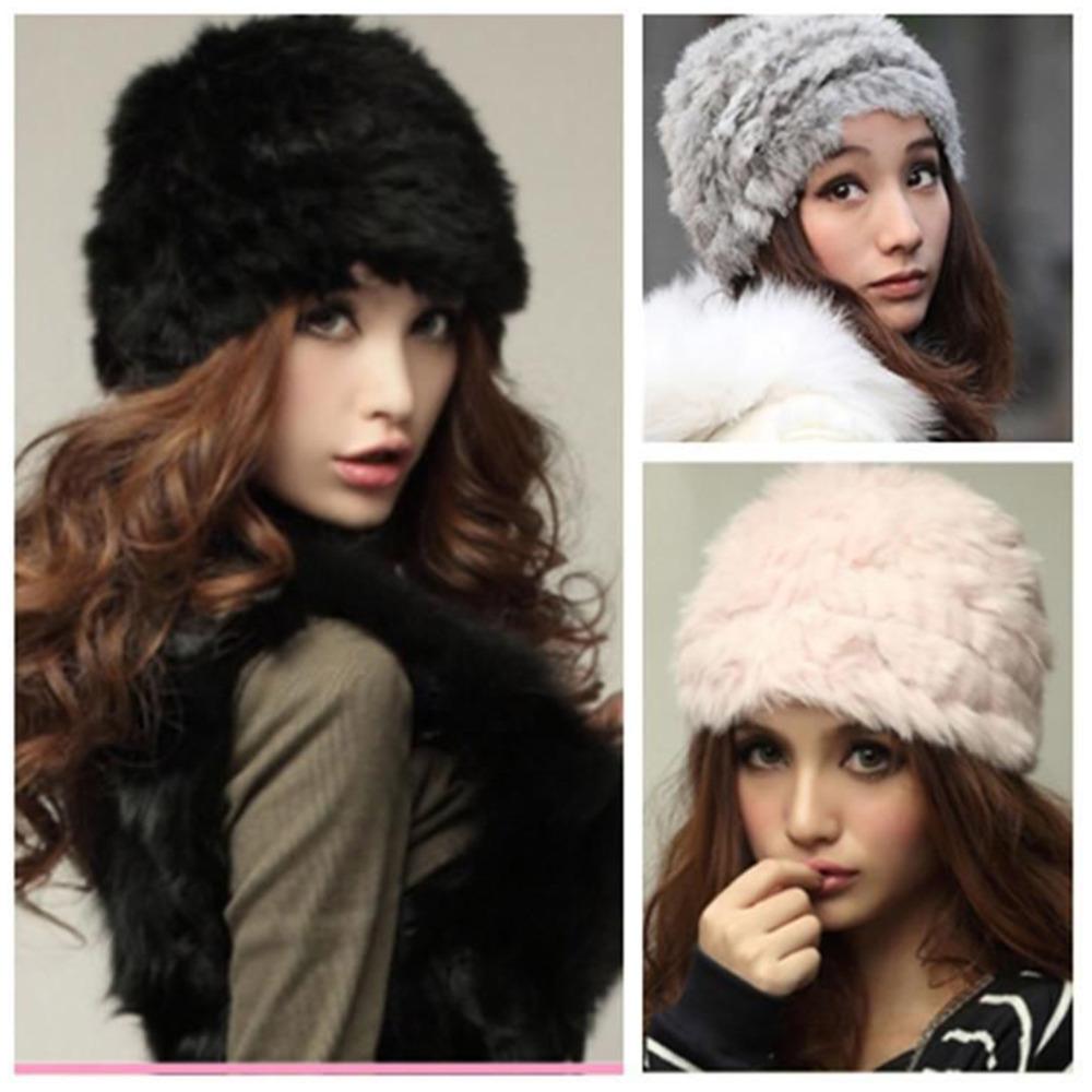 Гаджет  Women Rex Rabbit Fur Hat Russian Cossack Knitted Cap Vintage Fluffy Women Winter Warm Beanie Hat Ski Cap Headgear Top Quality None Одежда и аксессуары