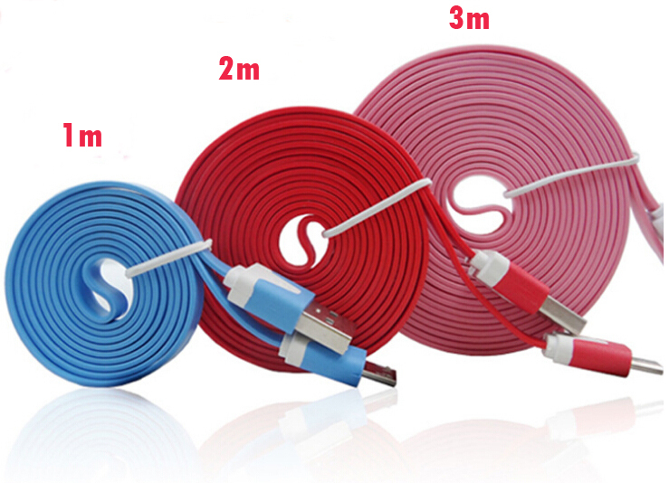 Hot ! free shipping 1m/2m/ 3 m Micro USB Data Travel Sync Flat Charger Cable Lines For Iphone4s/5s Samsung Galaxy S4 Note2 HTC(China (Mainland))
