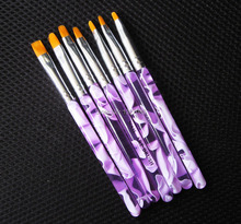 Hot Sale Professional 7 Sizes UV Gel Painting Draw Brush set New Fashion Nail Art Brush Free Shipping 1set /lot(China (Mainland))
