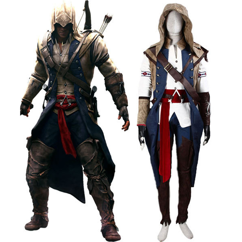 Assassin's Creed III Connor Render Cosplay Costume Premium Deluxe Edition Halloween Men's Costumes Custom Size Express Shipping(China (Mainland))
