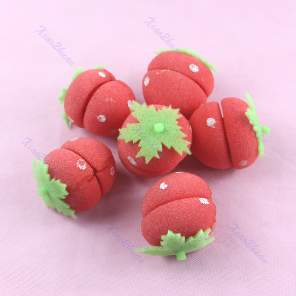 B39Hot Sell 1 set Strawberry Soft Sponge Hair Curler Roller Balls Free Shipping(China (Mainland))