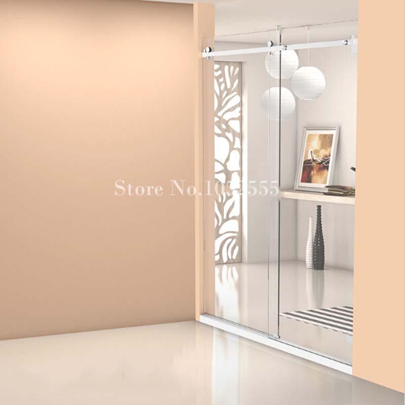 High Quality Frameless Shower Sliding door Whole set Bathroom Glass Door Completely Hardware stainless steel Furniture Hardware(China (Mainland))