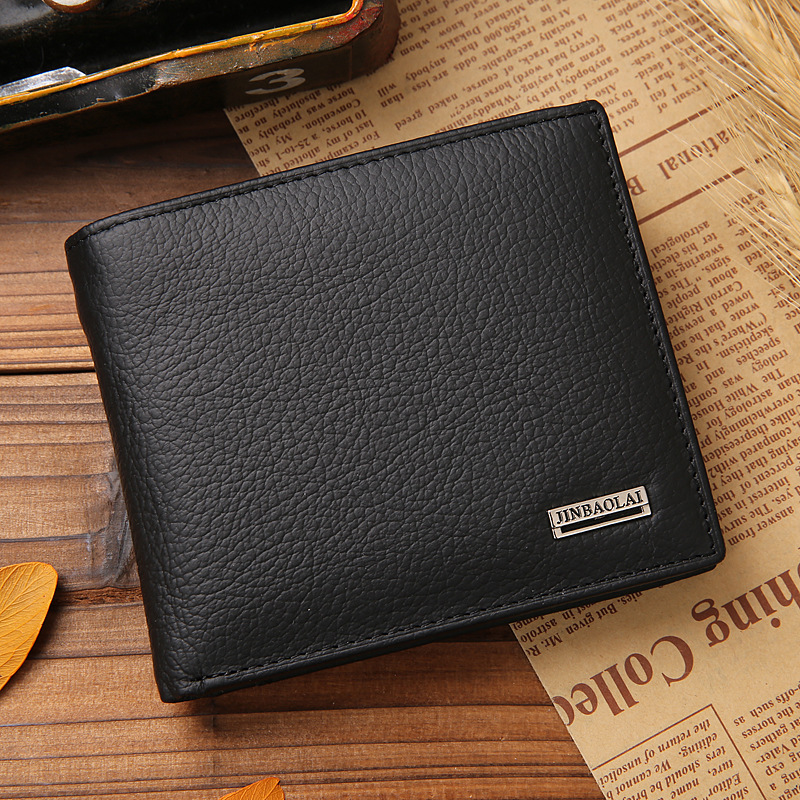 2015 vintage Men wallets genuine leather purse short casual male card holder carteira brand wallet