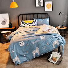 3/4pcs Modern Bedding Set Super King Size Bed Linens Reactive Printing Duvet Cover Set Pastoral Style Home Bed Set Flat Sheet(China)