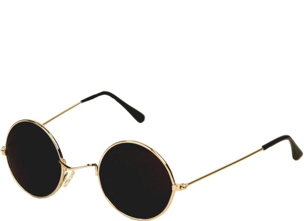 Men s Round Gold Frame Sunglasses : 60s John Lennon Style Round Gold Frame/ Black Lens ...