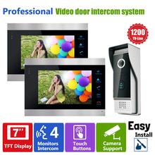 YSECU 7 Zoll Video Türsprechanlage Aufnahme HD 1200TVL 1 IR Nacht Türklingel Kamera und 2 Hände Frei Monitor Intercom türklingel(China (Mainland))