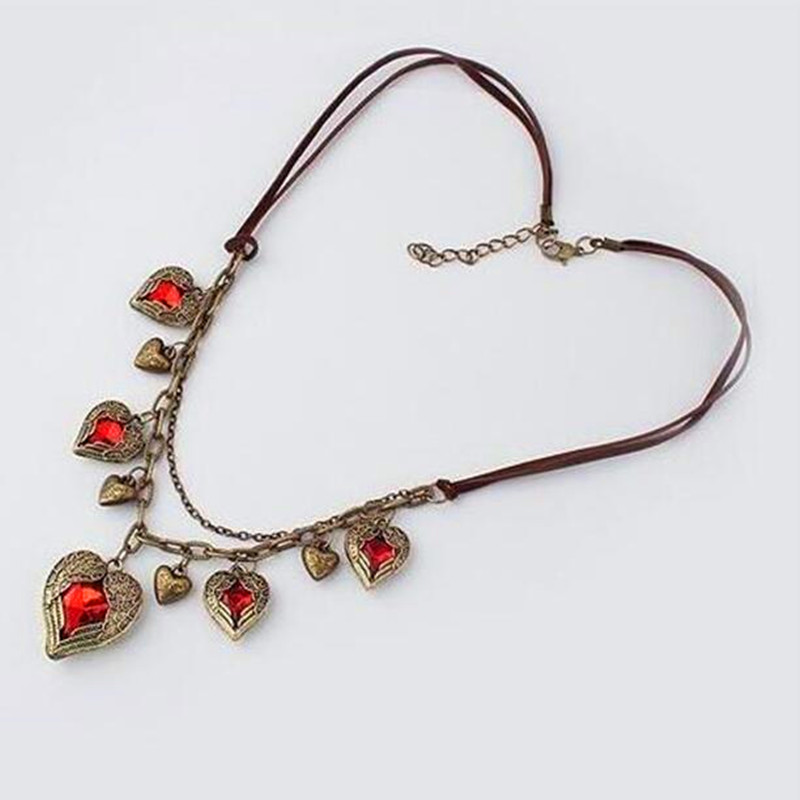 2016 HOT Free Shipping! Wholesales!Wings Angel Wings Retro Peach Heart Love created gemstone Multi Leather Necklace!(China (Mainland))