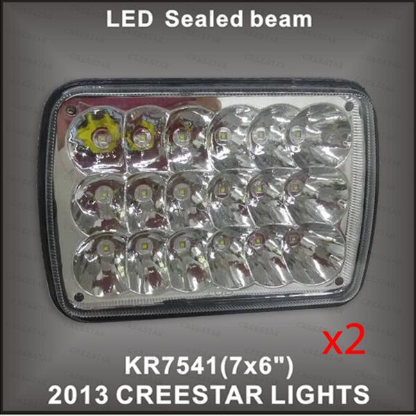 Pair of 7x6 led sealed beam used Each 3W leds 54w CLEAR SEALED BEAM HEADLIGHT DHL Free shipping(China (Mainland))