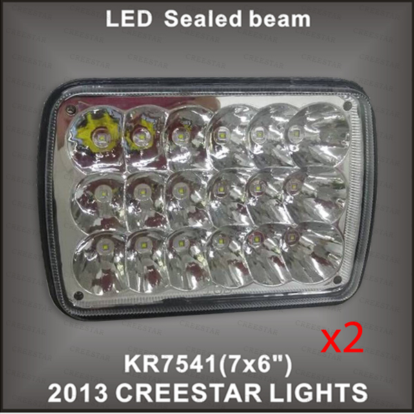 Pair of 7x6 led sealed beam used Each 3W leds 54w CLEAR SEALED BEAM HEADLIGHT DHL Free shipping(China (Mainland))