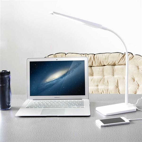 Купить Новая Приходящая Гусиная Шея 6 Вт LED Настольная Лампао фисная с Третьему Модулятору Света, Сенсорному Контроллеру и Легкой Портативной Таблице для Чтения (Белый)