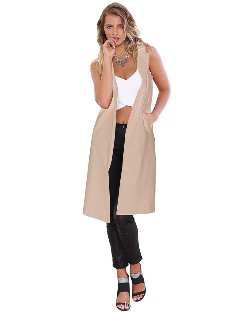 2015 осень женская куртка длинный участок был тонкий кардиган сплошной джокер верхней одежды для женщин размер M ~ XXL 3 цвета