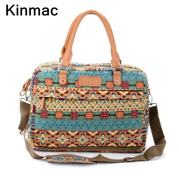 Free shipping Pop fashion stitching flowers Bohemia canvas ladies handbag laptop briefcase 13 14 15 inch notebook computer bags