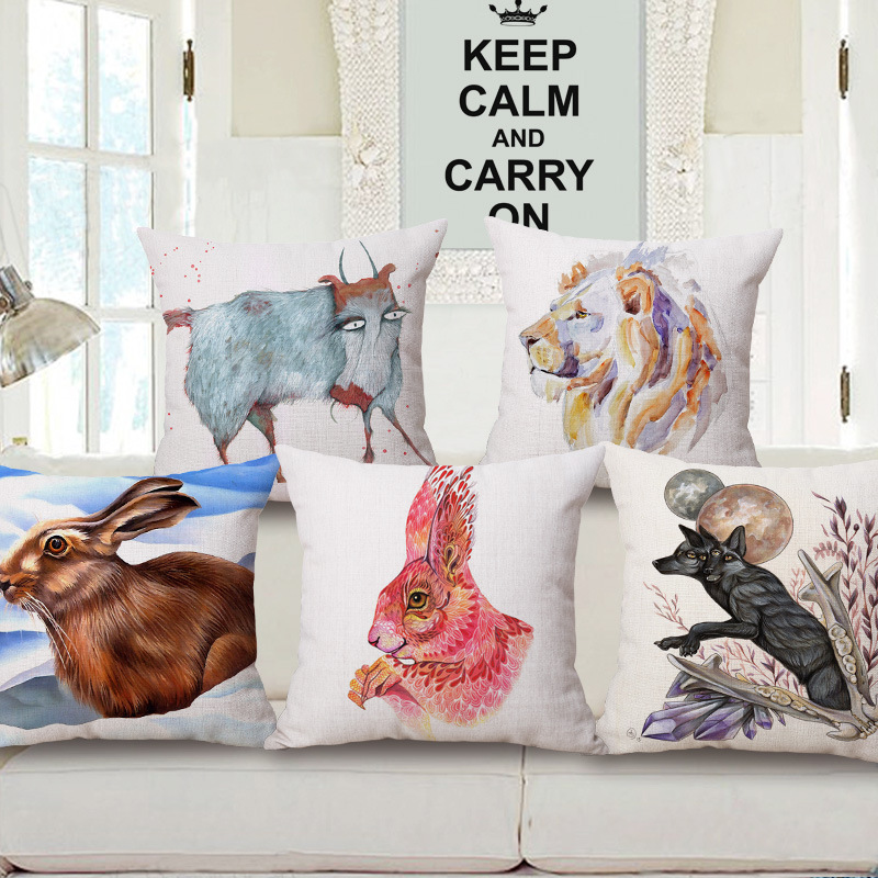 45cm 200g Ink and Wash Rabbit Pop Thick Fashion Cotton Linen Throw Pillow Hot Sale 18 Inch New Home Decor Sofa Back Cushion MQQ
