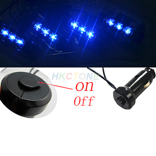 4x 3LED Car Charge 12V Glow Interior Decorative 4in1 Atmosphere Light Lamp Blue 1E68