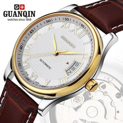 Original GUANQIN Full Steel Men Business Watches Waterproof Calendar Top Luxury Brand Automatic Mechanical Men Watches