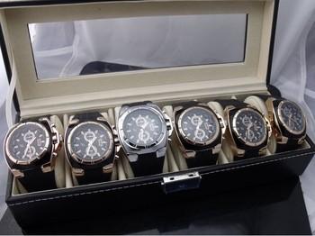 Quartz Watch Boxes Velvet Pillow Men Watches Hard box black square box 6 positions Metal buckle Transparent surface NY0101