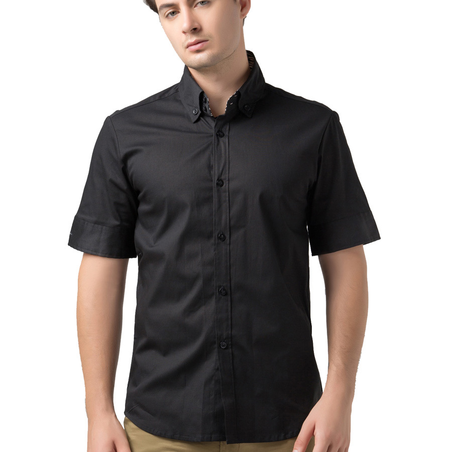 Short sleeve dress shirts for men cocktail dresses 2016 for Mens black short sleeve dress shirt