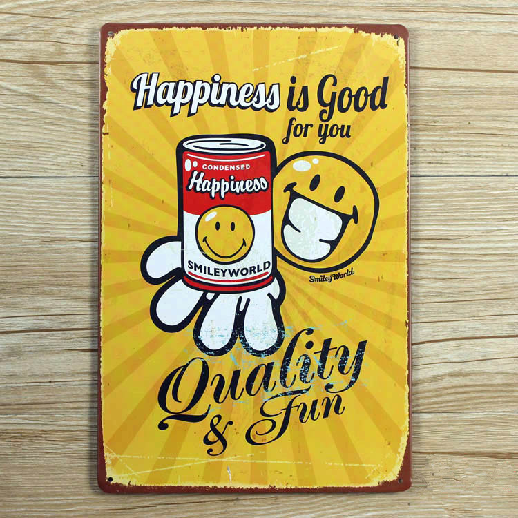"Direct selling XD190 ""Happiness is good for you"" Tin signs Art Cafe Bar Vintage Metal Painting wall stickers home decor 20X30 CM(China (Mainland))"