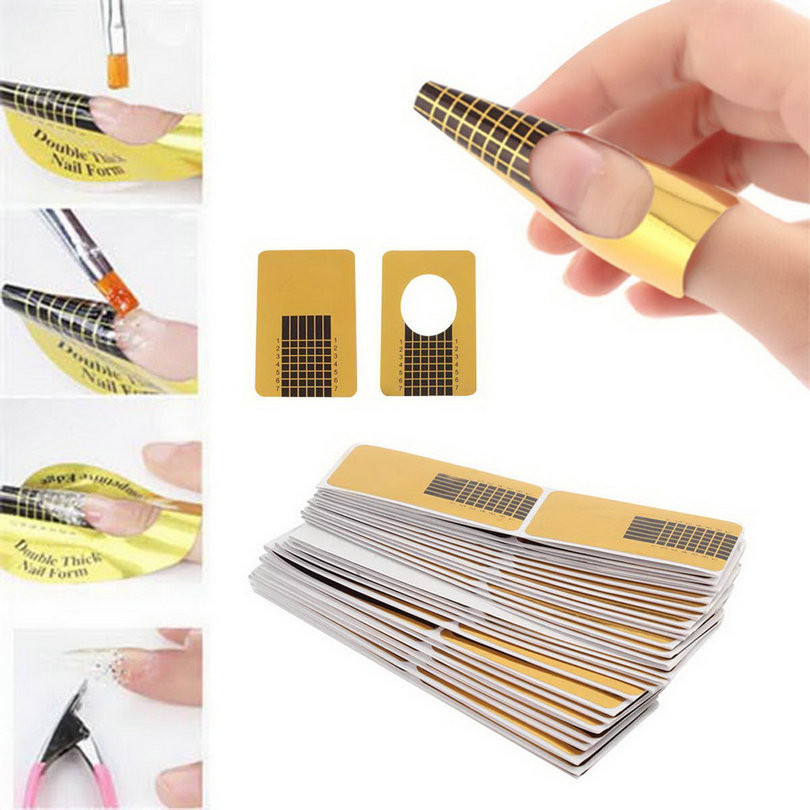 100Pcs Golden Nail Art Tips Extension Forms Guide French DIY Acrylic UV Gel Kit,free shipping, wholesale-factory price(China (Mainland))