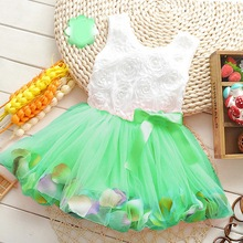 Girl Free Shipping  Summer New Models Kids TUTU Dress Princess Girls Green blue  orange Dresses(China (Mainland))