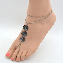 Women Summer Foot Jewelry Vintage Turkish Silver Stamped Coin Slave Chain Toe Beach Tribal Sandals Anklet Feet Girl Bijoux AK007