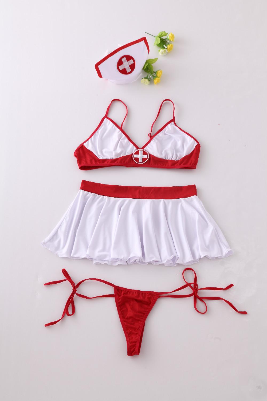 Woman Sexy Lingerie Nurse Cosplay Costume Nurse Uniforms Temptation Lady Bra+G-String+Skirt+Hat Sexy Underwear