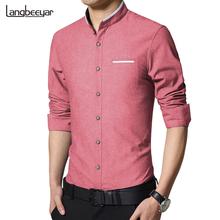 Новая Мода Повседневная Мужчины Рубашка С Длинным Рукавом Мандарин Воротник Тонкий Fit Рубашки Мужчин Корейский Бизнес Мужские Рубашки Мужская Одежда M-5XL(China (Mainland))