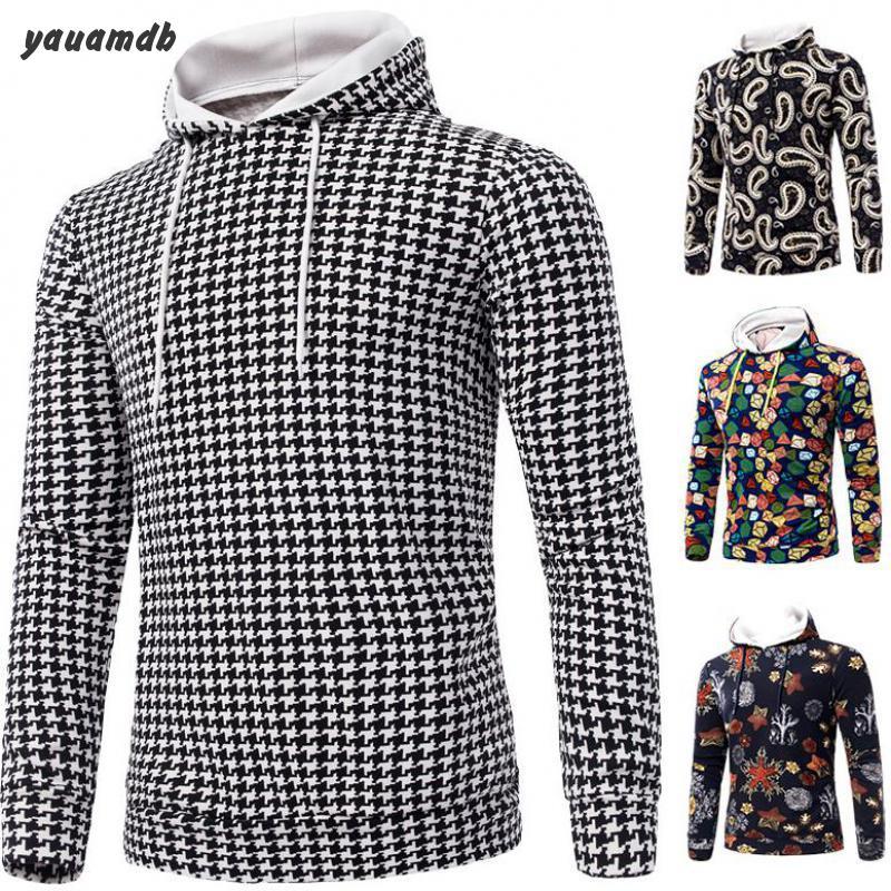yauamdb men hoodies clothing 2016 spring/autumn man brand pullover tracksuits male hooded plaid print sportswear y47(China (Mainland))
