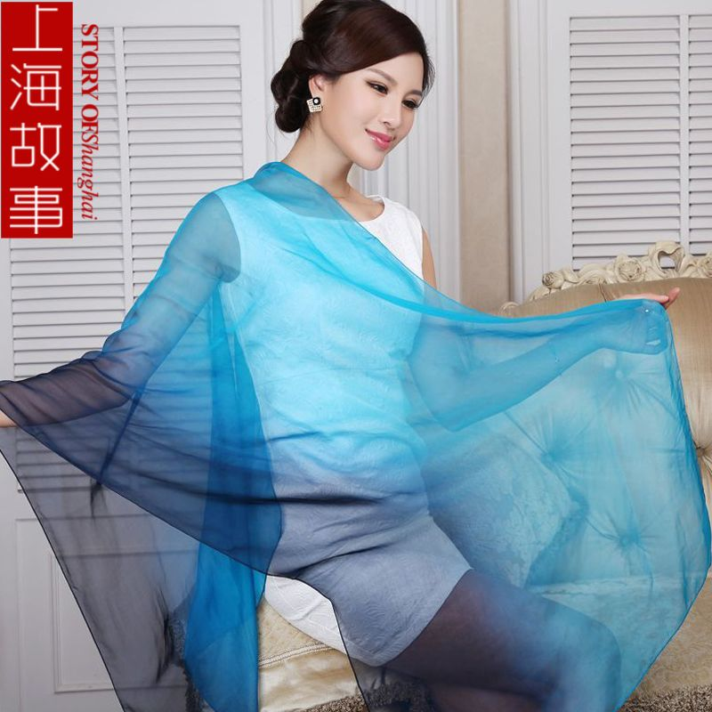 Silk mulberry silk scarf chiffon gradient color women's elegant scarf(China (Mainland))