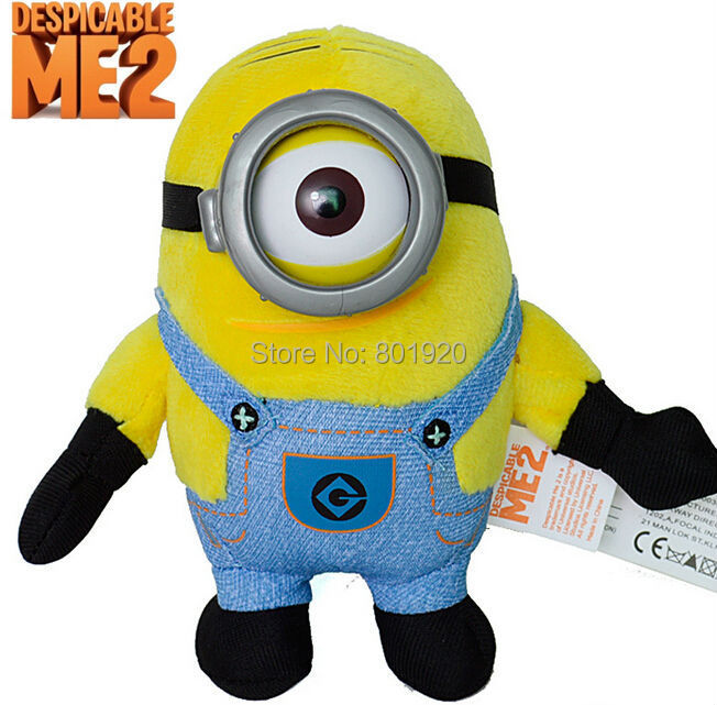 Minions toys despicable me Creative Minions 3D eyes yellow doll soybeans plush toys free shipping,14cm,1pc(China (Mainland))