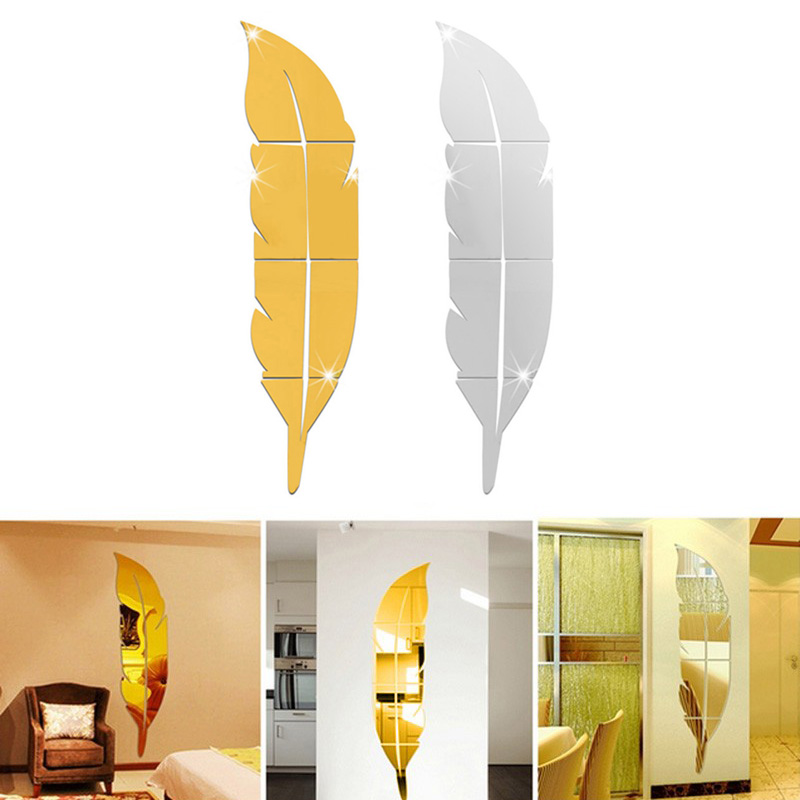 New Design DIY Modern Feather Dressing Acrylic Mirror Stickers 3D Stereoscopic Entrance Room Decor TB Sale(China (Mainland))