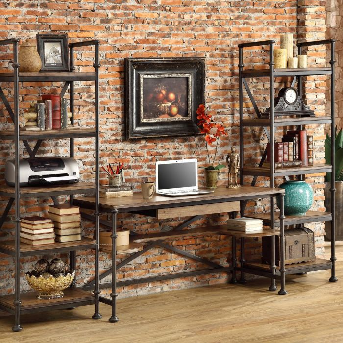 American country to do the old pine old antique wrought iron furniture computer desk shelving family table(China (Mainland))