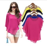 S-XXXL plus size Ladies Summer Chiffon Blouses & shirts blusas Bat Sleeve blousas shirts blusas femininas 2014