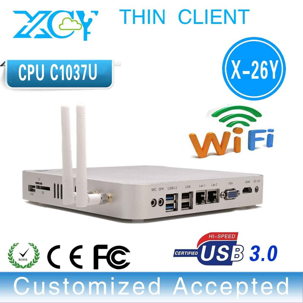 2*LAN port computer networking dual lan port thin client 2*Ethernet mini pc Fanless barebone os with HDMI support 1080P WIFI.(China (Mainland))