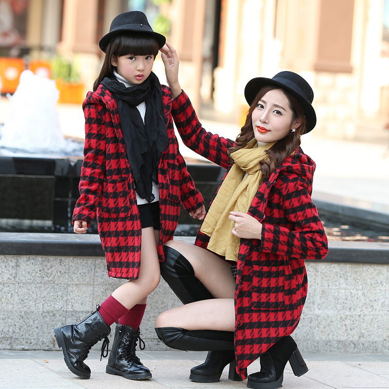 Girls winter coat plaid jacket women family look clothing overcoat matching mother daughter clothes Outfits kids clothes coat<br><br>Aliexpress