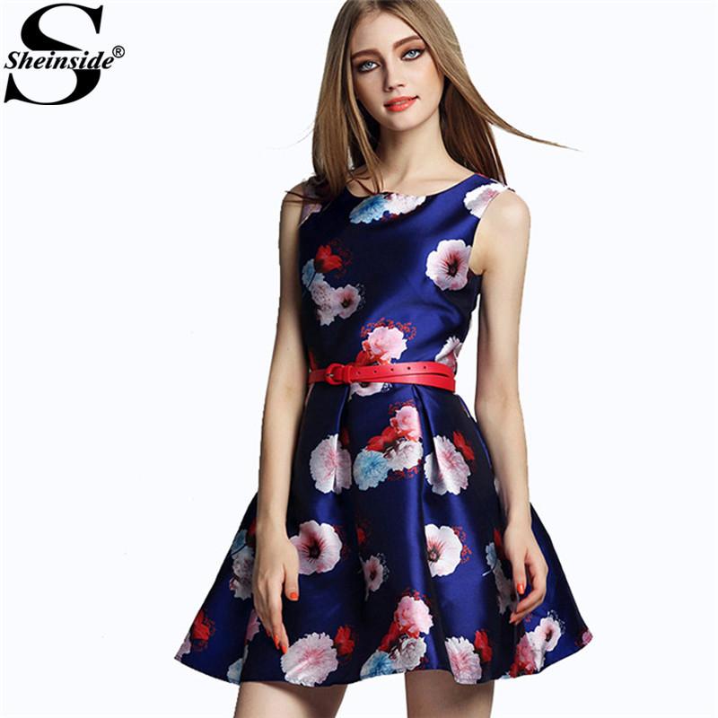 Sheinside Elegant Female Summer Retro Brand Vintage Vestidos Blue Round Neck Sleeveless Floral Print With Belt Flare Mini Dress(China (Mainland))